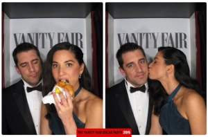 Olivia Munn and Aaron Rogers Oscars 2015 Vanity Fair After Party Photo Booth