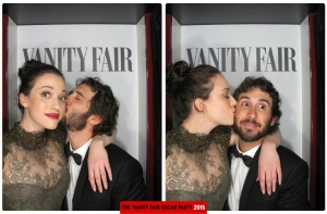 Kat Dennings and Josh Groban Oscars 2015 Vanity Fair After Party Photo Booth