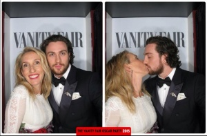 Sam Taylor-Johnson and Aaron Taylor-Johnson Oscars 2015 Vanity Fair After Party Photo Booth