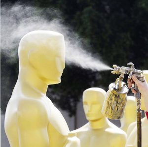 Spraying oscar statues The Oscars - 87th Annual Academy Awards 2015