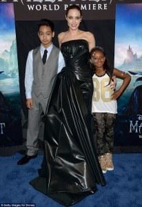 Angelina Jolie with Knox Jolie-Pitt and Zahara Jolie-Pitt Red Carpet