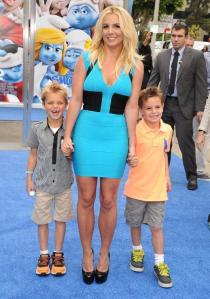 Britney Spears and Sons Jayden James Federline and Sean Federline The Smurfs 2 Premiere