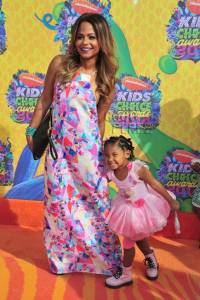 Christina Milian and Daughter Violet Madison Nash Red Carpet Kids Choice Awards 2014