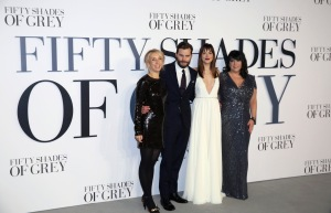 SAM TAYLOR JOHNSON LEAVES FIFTY SHADES OF GREY FRANCHISE - Sam Taylor Johnson, Jamie Dornan, Dakota Johnson and E.L James at the London premiere of 'Fifty Shades of Grey'