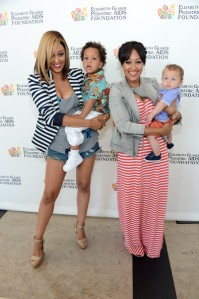 Tia Mowry-Hardrict and Tamera Mowry-Housley with sons Cree and Aden Red Carpet