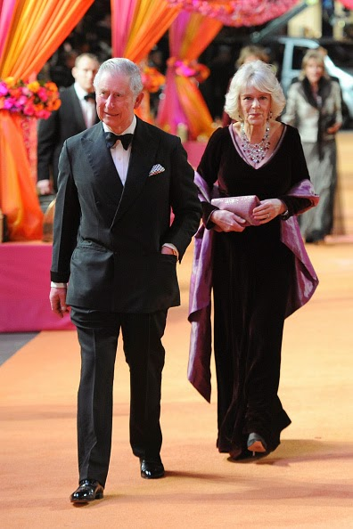 Prince Charles of Wales and Duchess of Cornwall Camilla at the Second Best Exotic Marigold Hotel Premiere in London