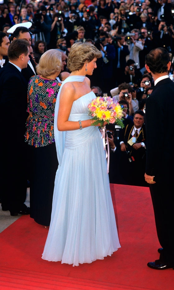 Princess Diana holding flowers Cannes Film Festival