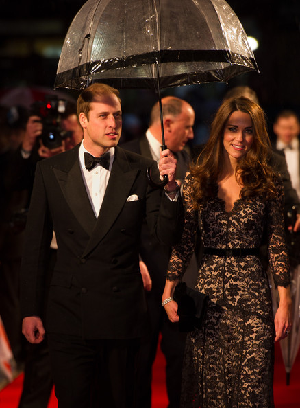 Duke and Duchess of Cambridge, Prince William and Kate Middleton collecting flowers at the 'War Horse' premiere 2012