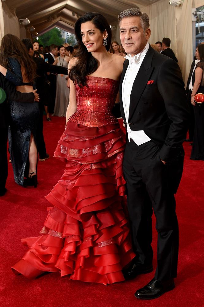 Amal and George Clooney - MET GALA 2015 RED CARPET